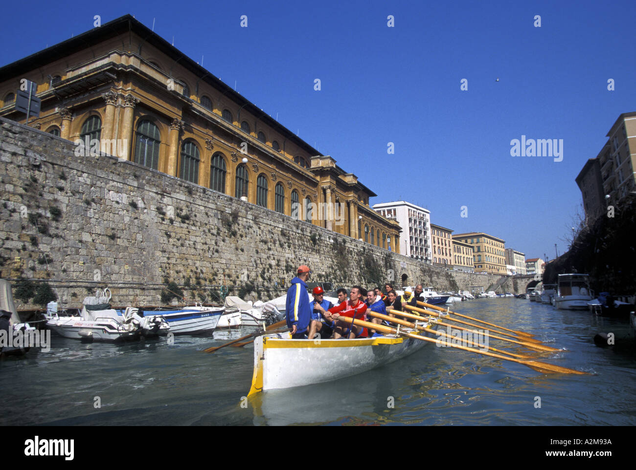 Training of Ovosodo rower for Seafaring Palio - Stock Image