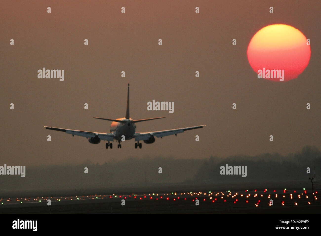 passenger airplane landing on airport Munich at sunset, Germany, Bavaria, Munich - Stock Image