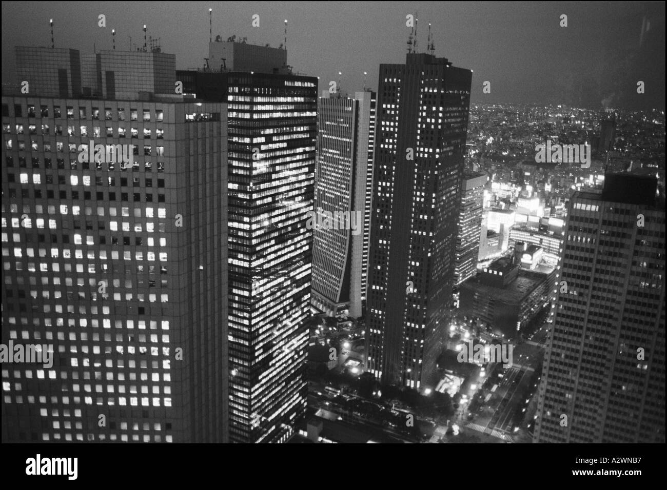 Skyscraper District Nishi Shinjuku Seen At Night From The Top Of Governement Building Number 1 Tokyo Japan