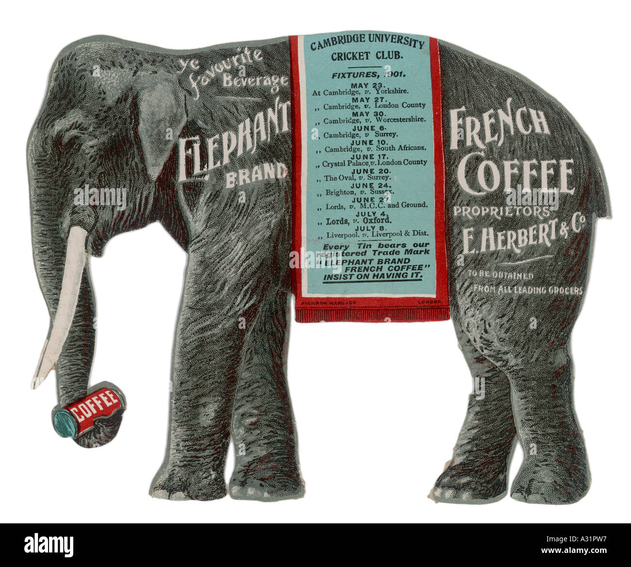 Advert Elephant Coffee - Stock Image