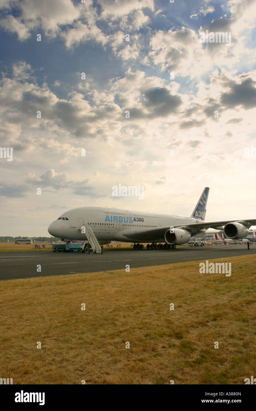 Airbus A380 at Farnborough International Airshow 2006 UK - Stock Image