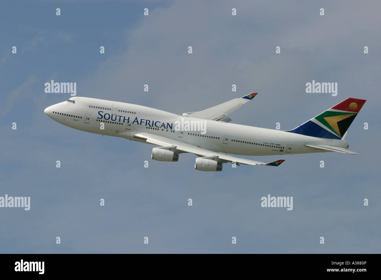 South African Airways Boeing 747 during flight - Stock Image