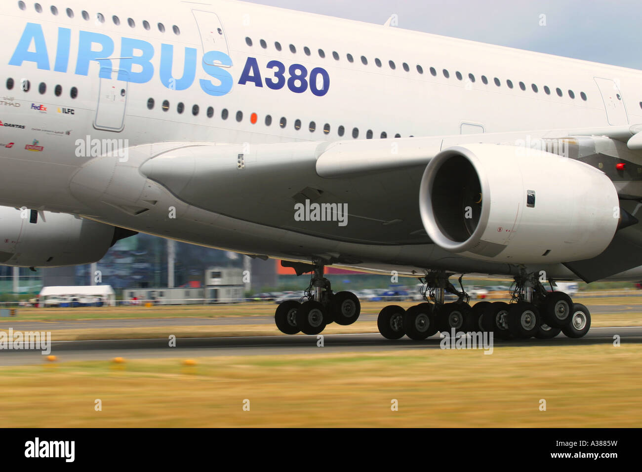 Close-up of the middle section of fuselage of Airbus A380 at Farnborough International Airshow 2006 UK - Stock Image