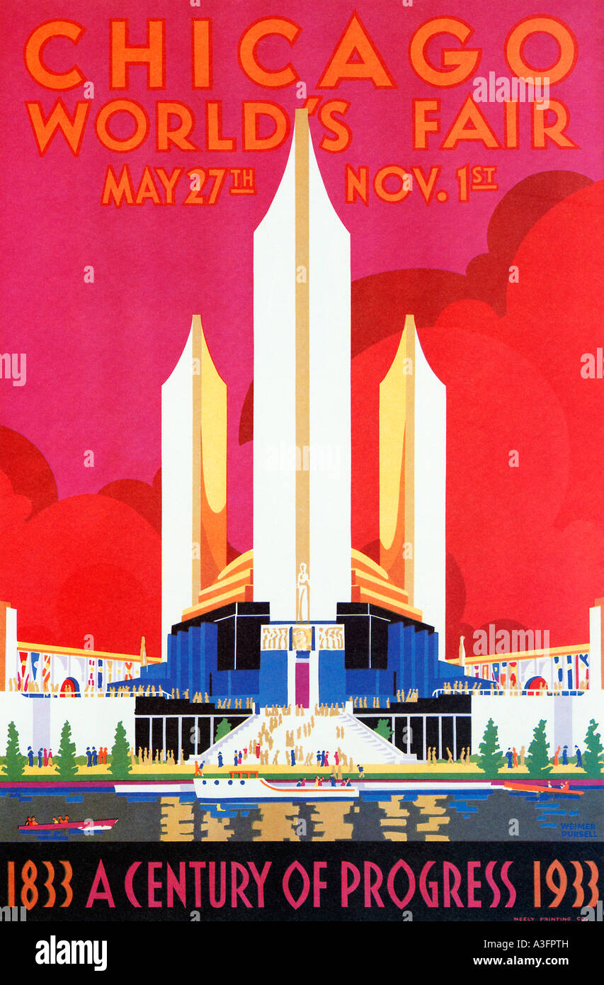 Chicago worlds fair 1933 art deco poster for the illinois exhibition marking a century of progress