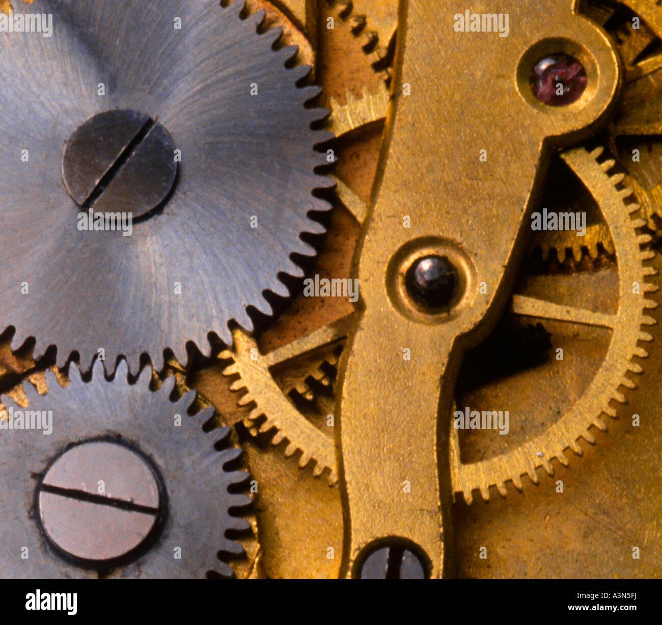 Clock Interior Gears Detail Close-up Working Mechanical Parts Sandra Baker - Stock Image