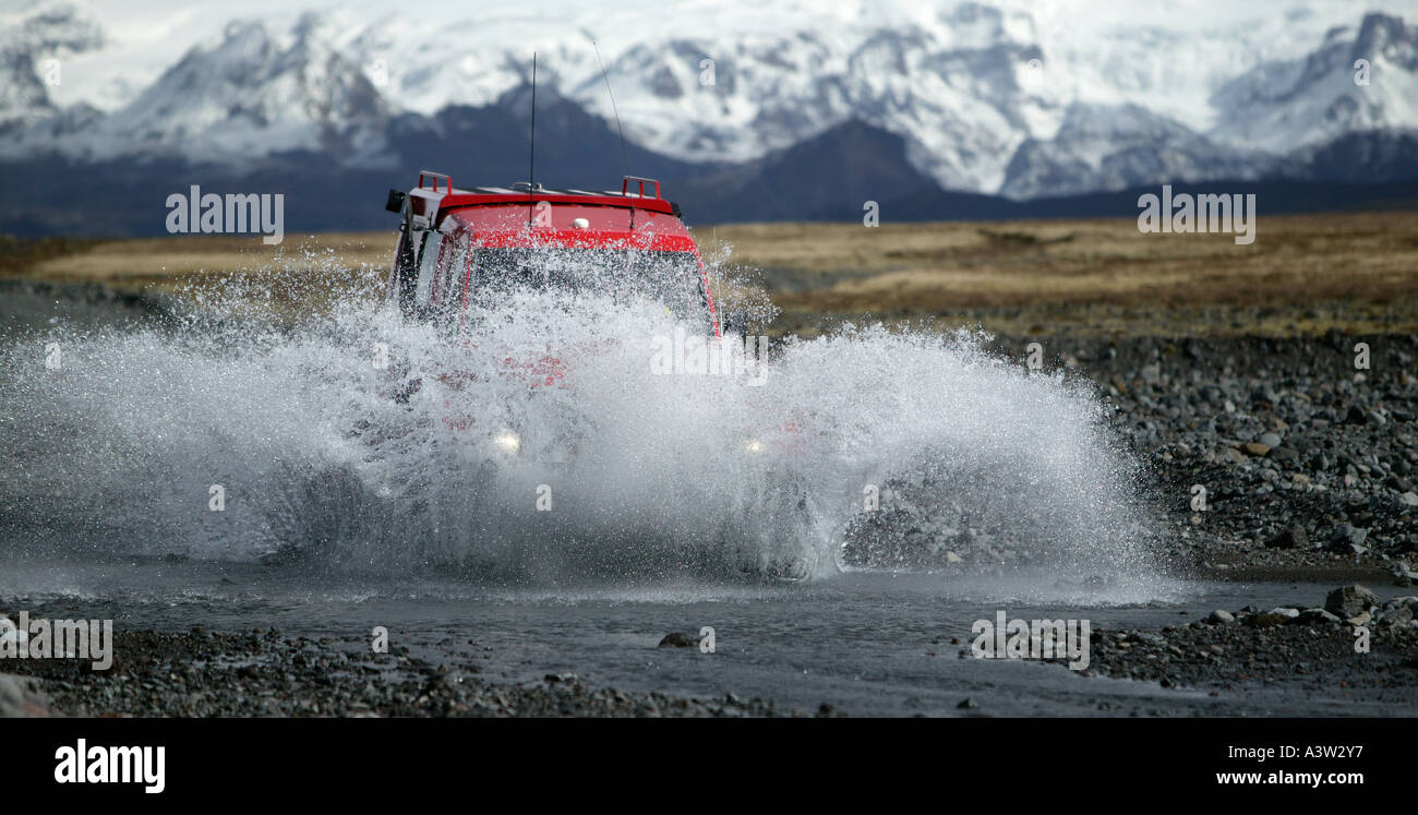 Super Jeep crossing a River Thorsmork, Iceland - Stock Image