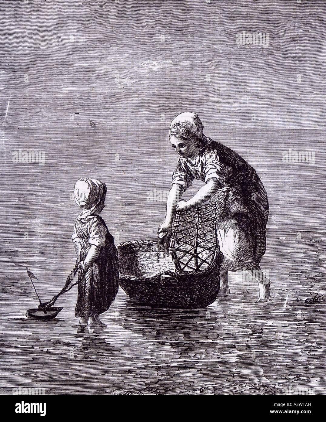 dutch artist art child sister sea boat moses basket baby bed cot crib babyhood Stock Photo