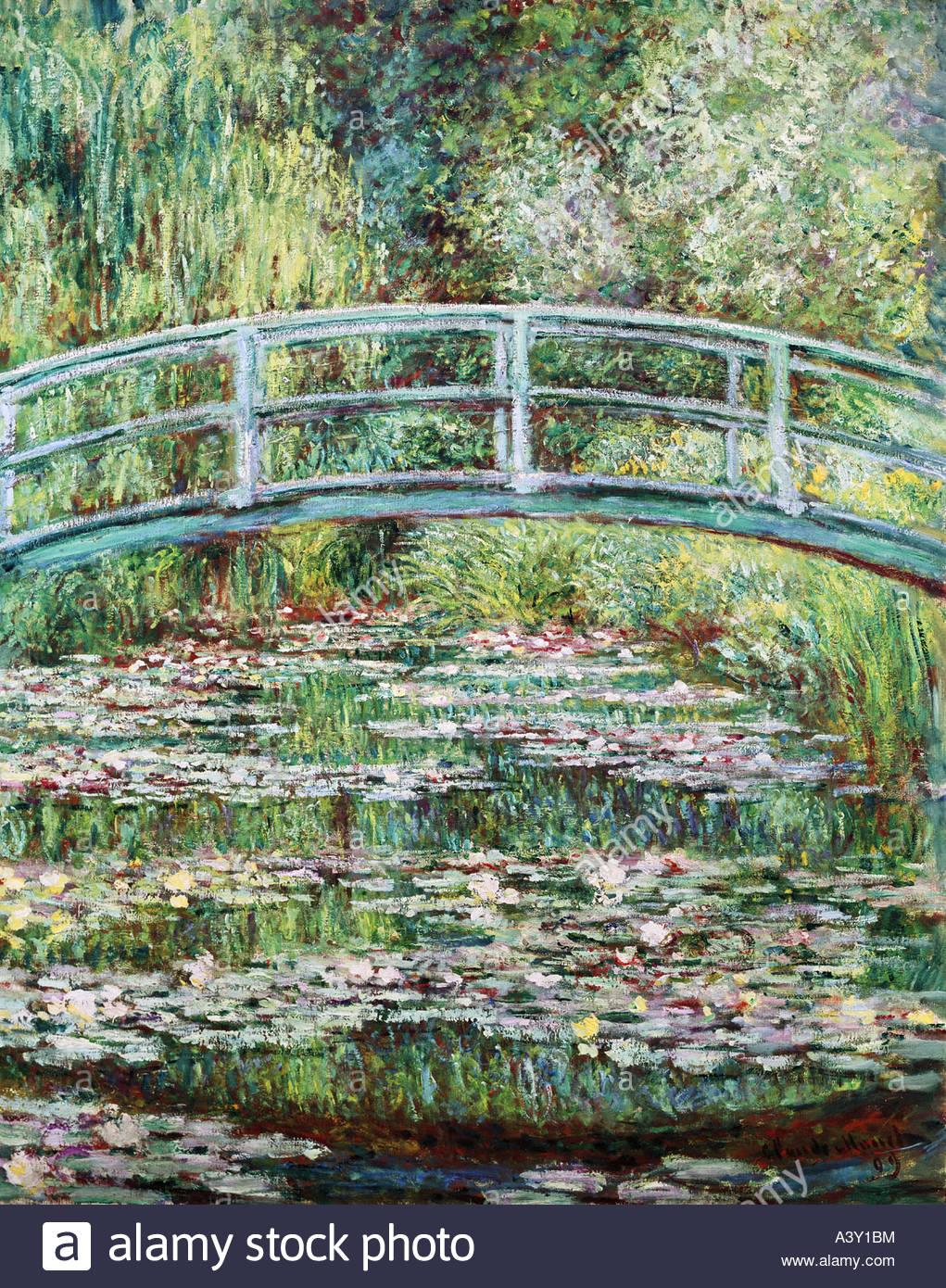 """fine arts, Monet, Claude, (1840 - 1926), painting, ""Pont Japonais a Giverny"", (""Japanese bridge at Giverny""), 1899, Stock Photo"