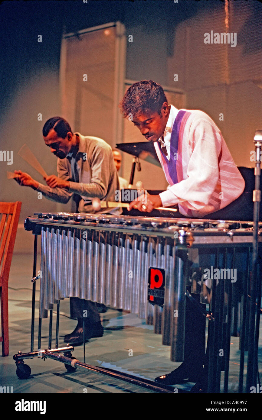 Sammy Davis Junior playing xylophone on stage at BBC Television Theatre London 1960s PER0115 - Stock Image