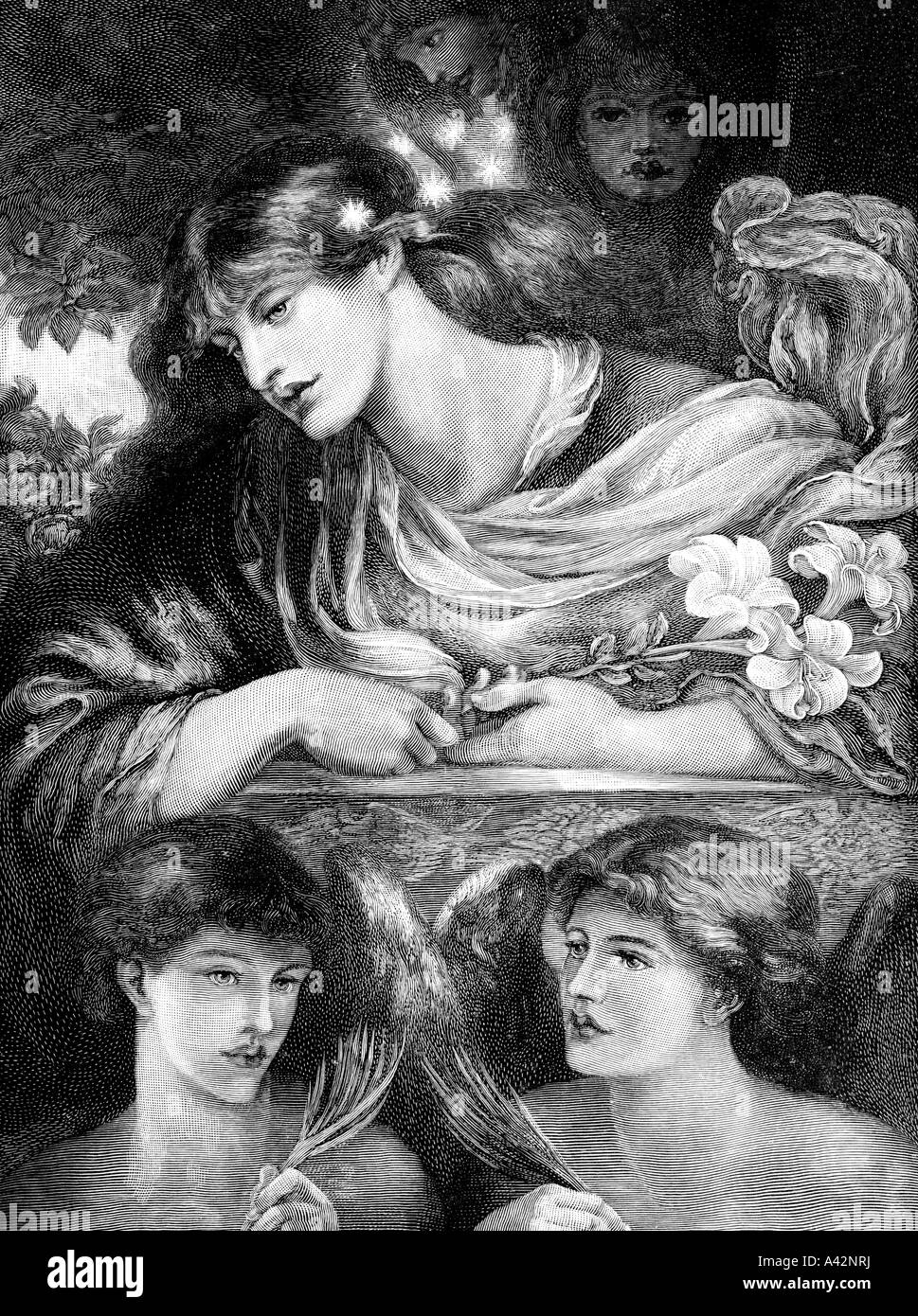engraving of Dante Gabriel Rossetti s The Blessed Damozel - Stock Image