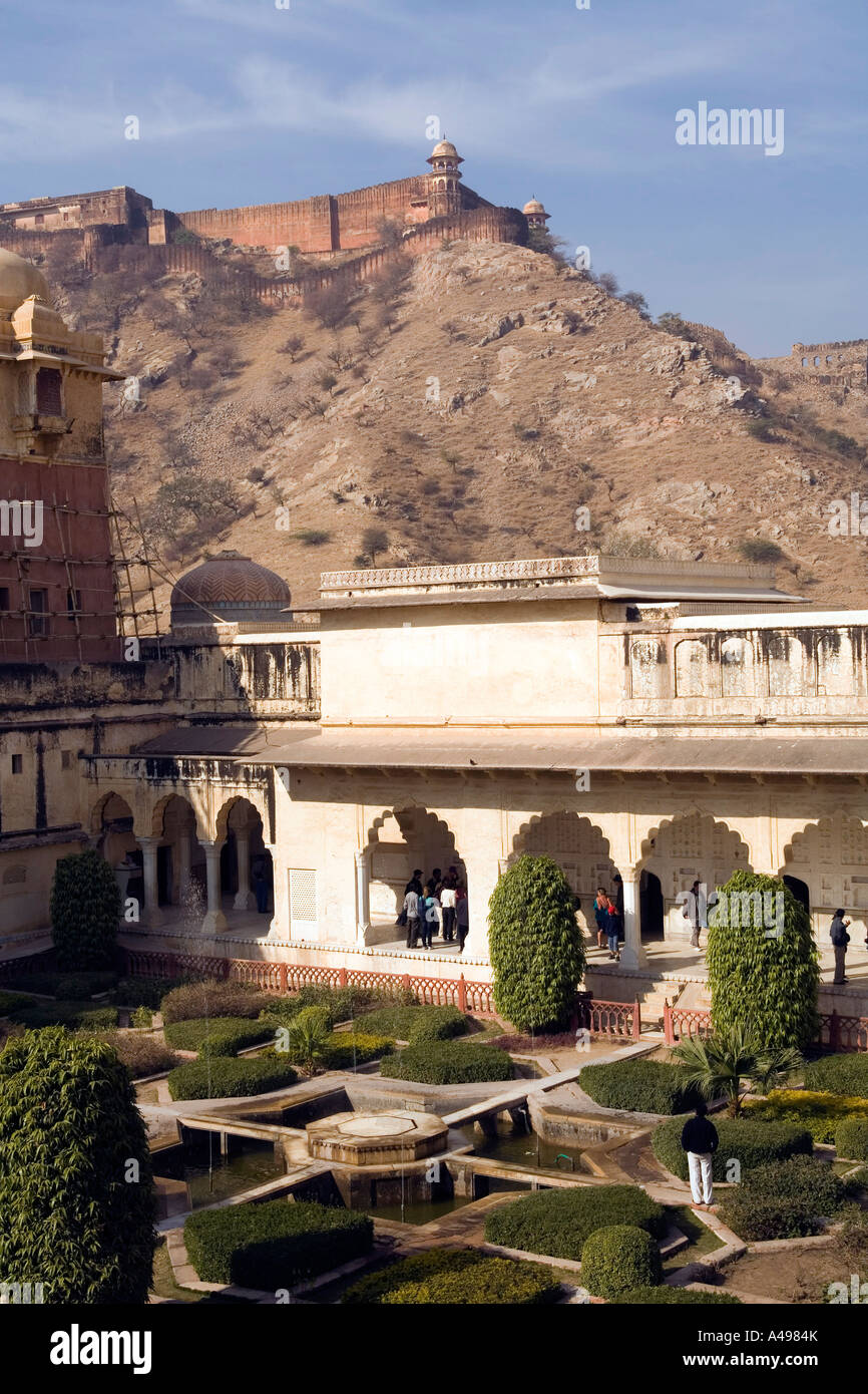 India Rajasthan Amber Fort upper fortification from the from the Jai ...