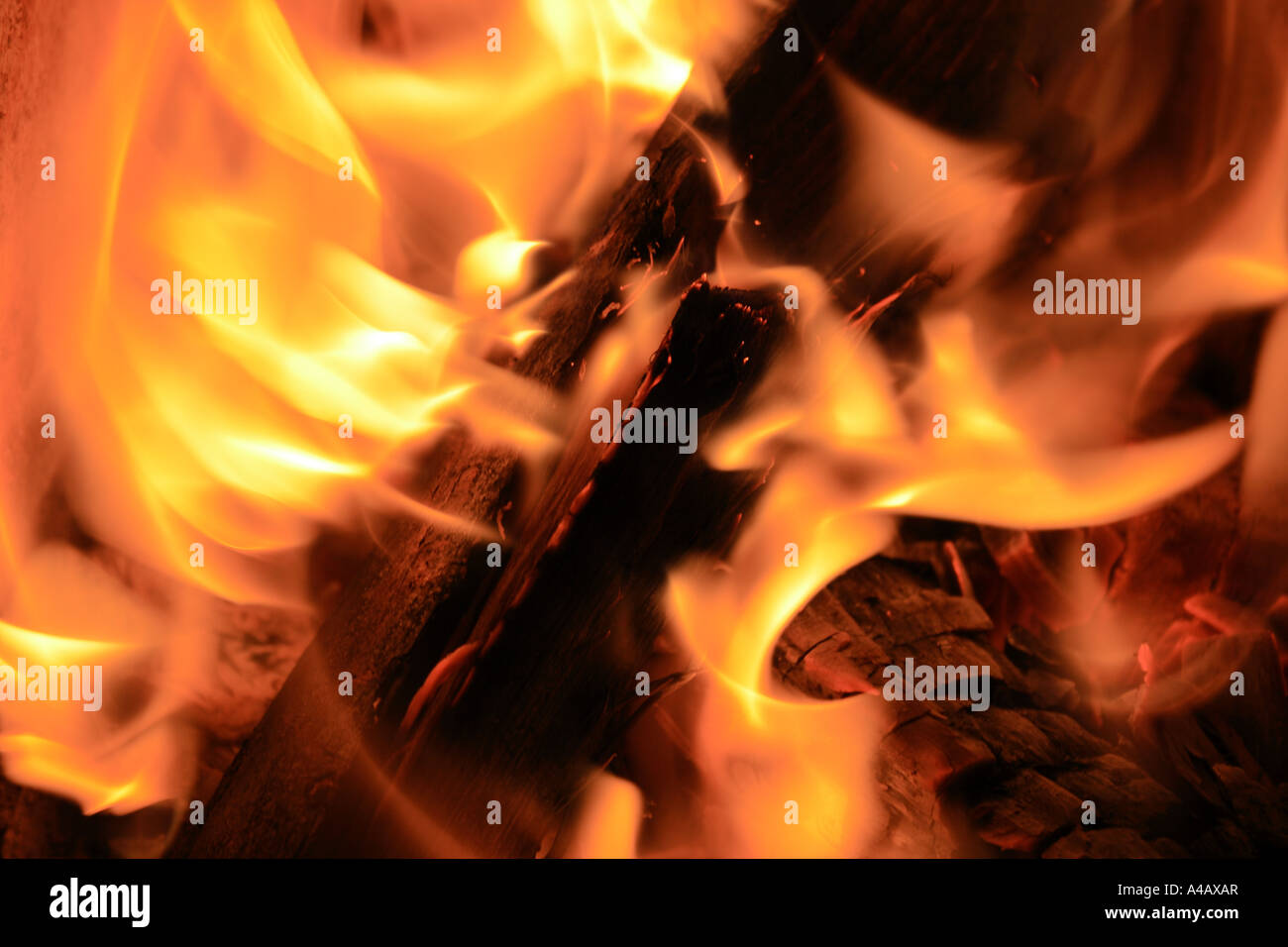close up of an open fire. Photo by Willy Matheisl - Stock Image