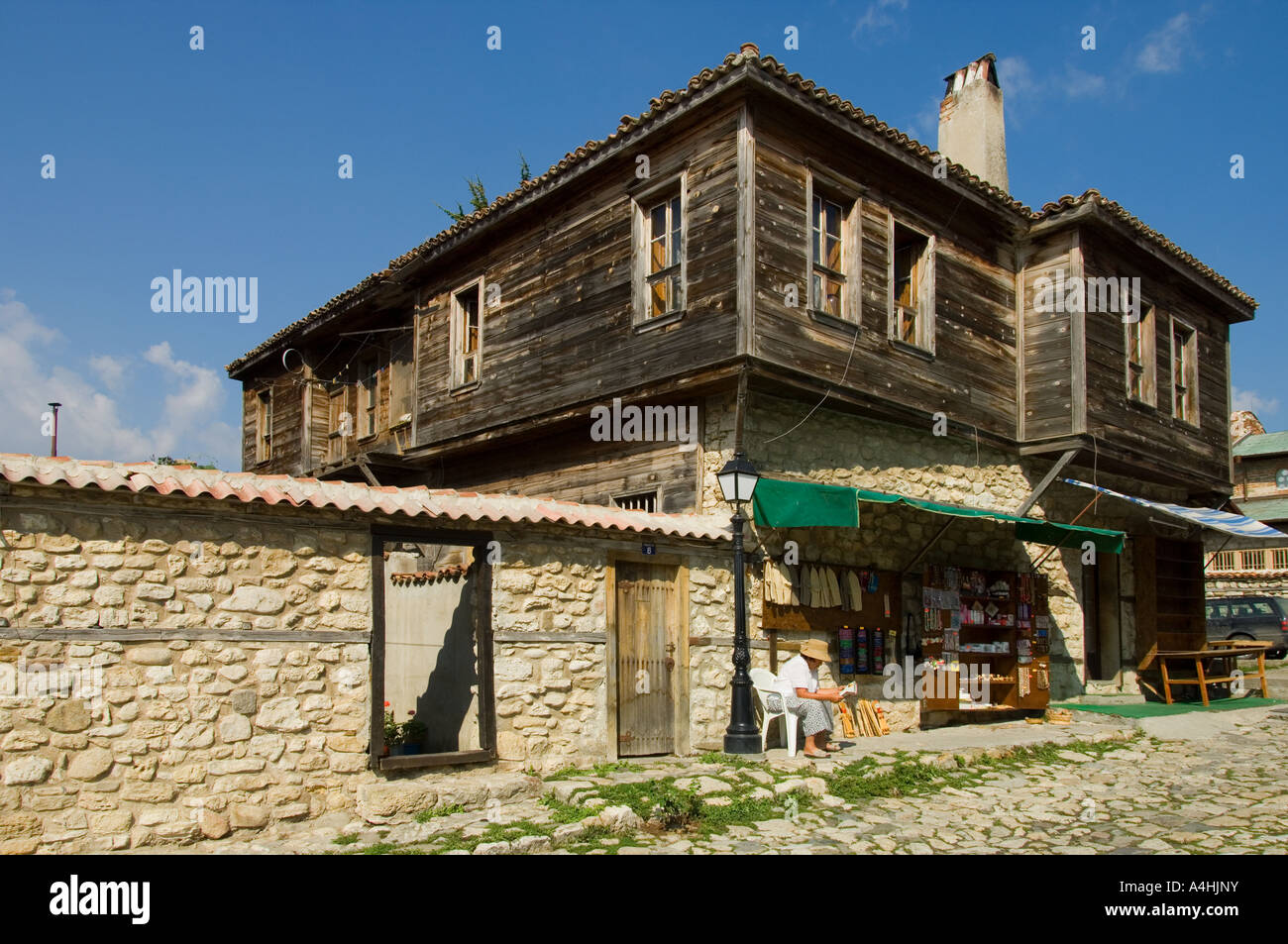 Typical Wooden And Stone House In Old Nessebar Black Sea Coast Bulgaria  East Europe