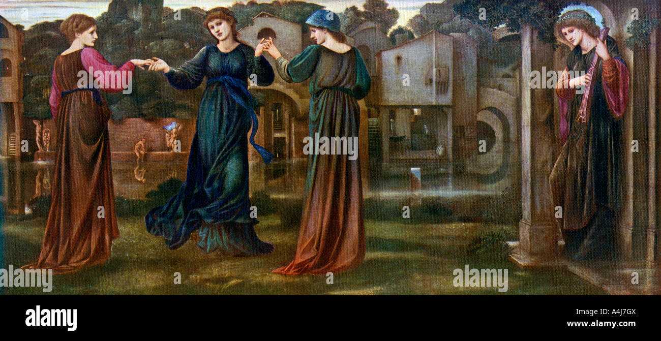 The Mill Girls Dancing to Music by a River 1870 1912  Stock Photo