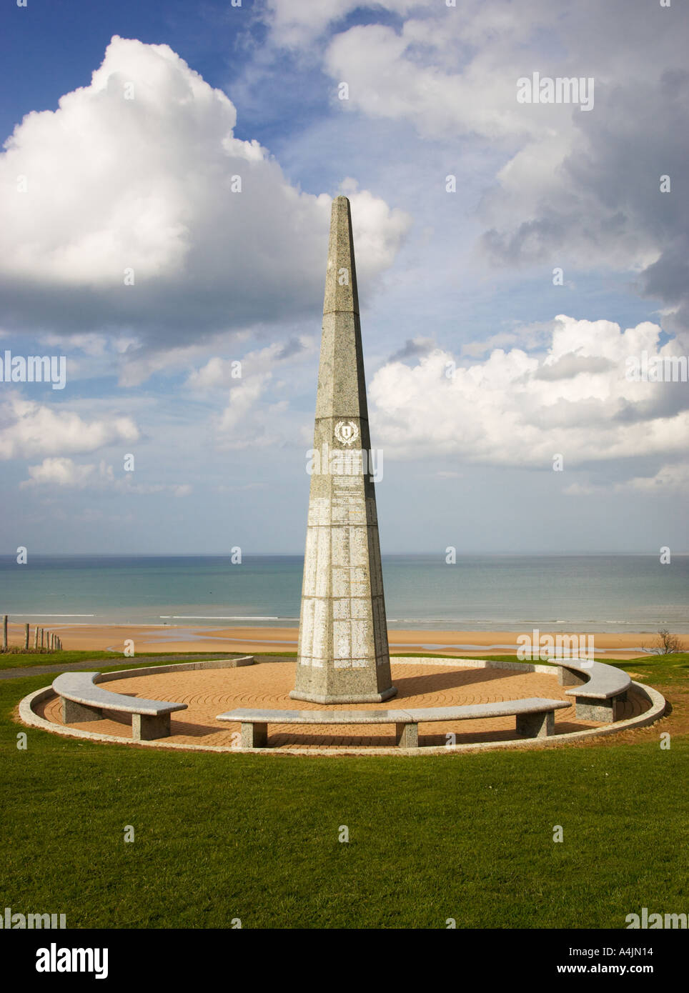 US Army 1st Infantry monument at Colleville sur mer Normandy France Stock Photo