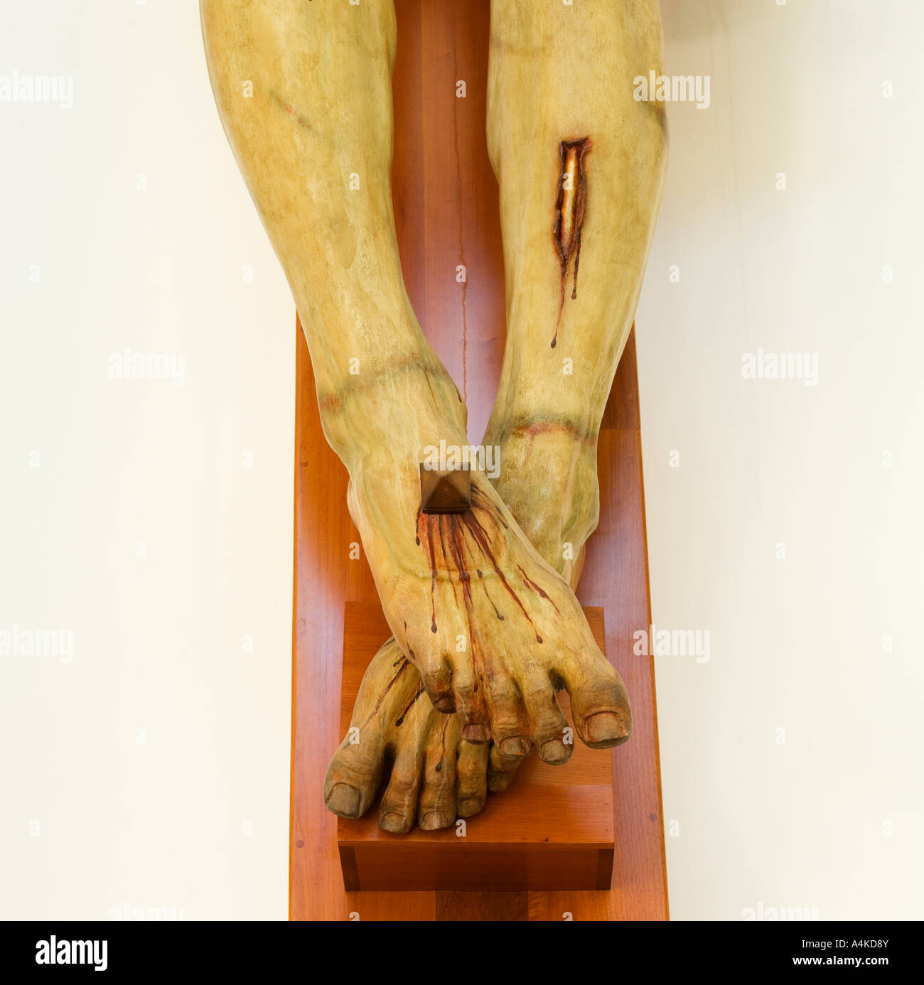 Jesus on the cross the crucifixion leg and foot detail Stock Photo ...