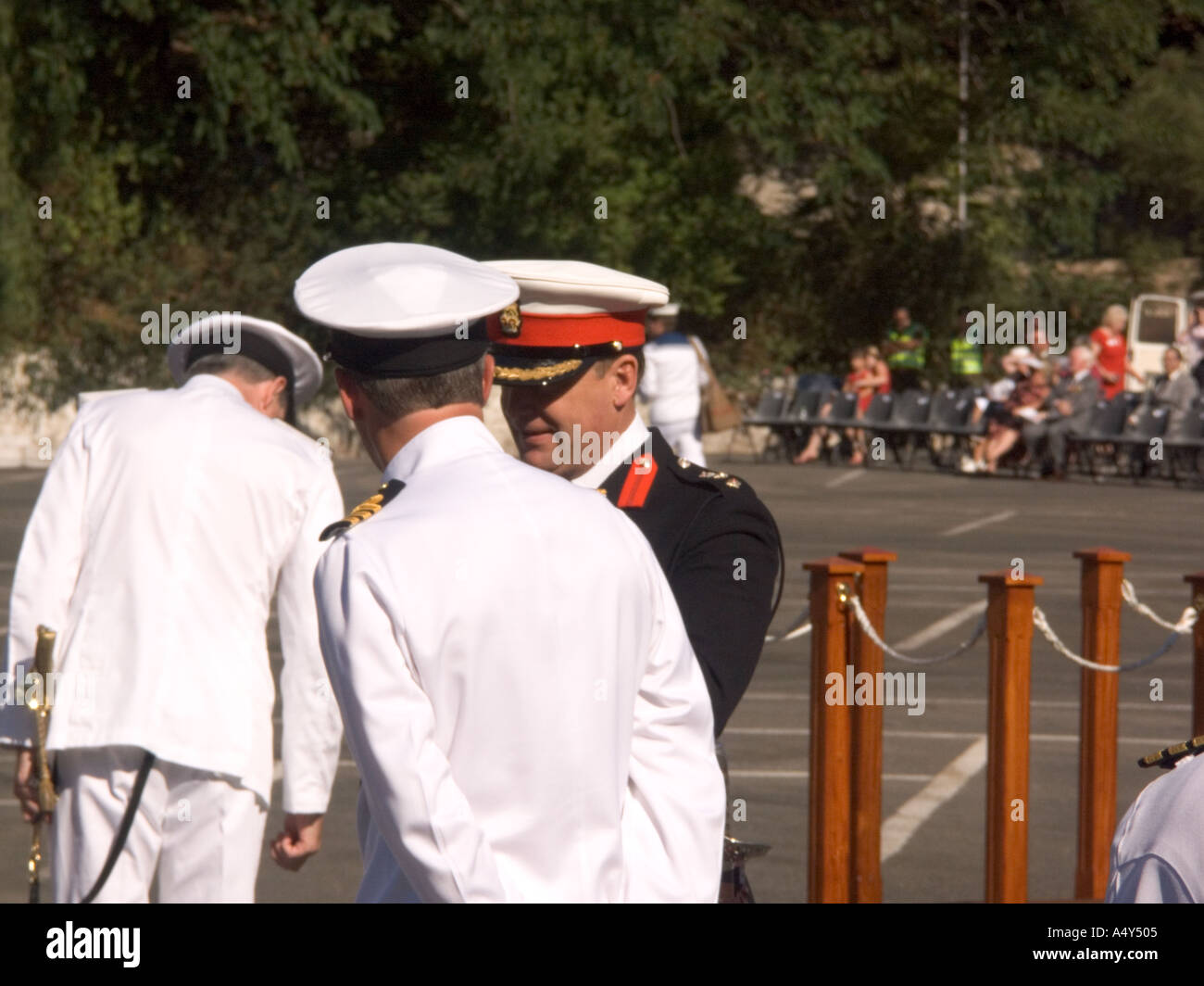A Naval Commander talking with an Army Colonel during the Honorary Freedom of the City of Gibraltar Ceremony - Stock Image