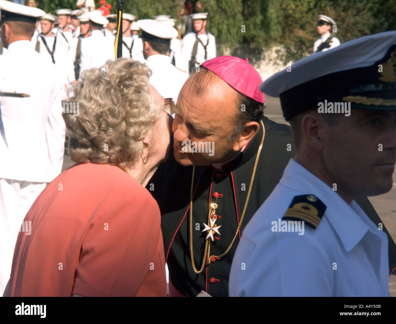 Monsignor Charles Caruana, Bishop of Gibraltar, at the Honorary Freedom of the City of Gibraltar Ceremony, 2004, - Stock Image
