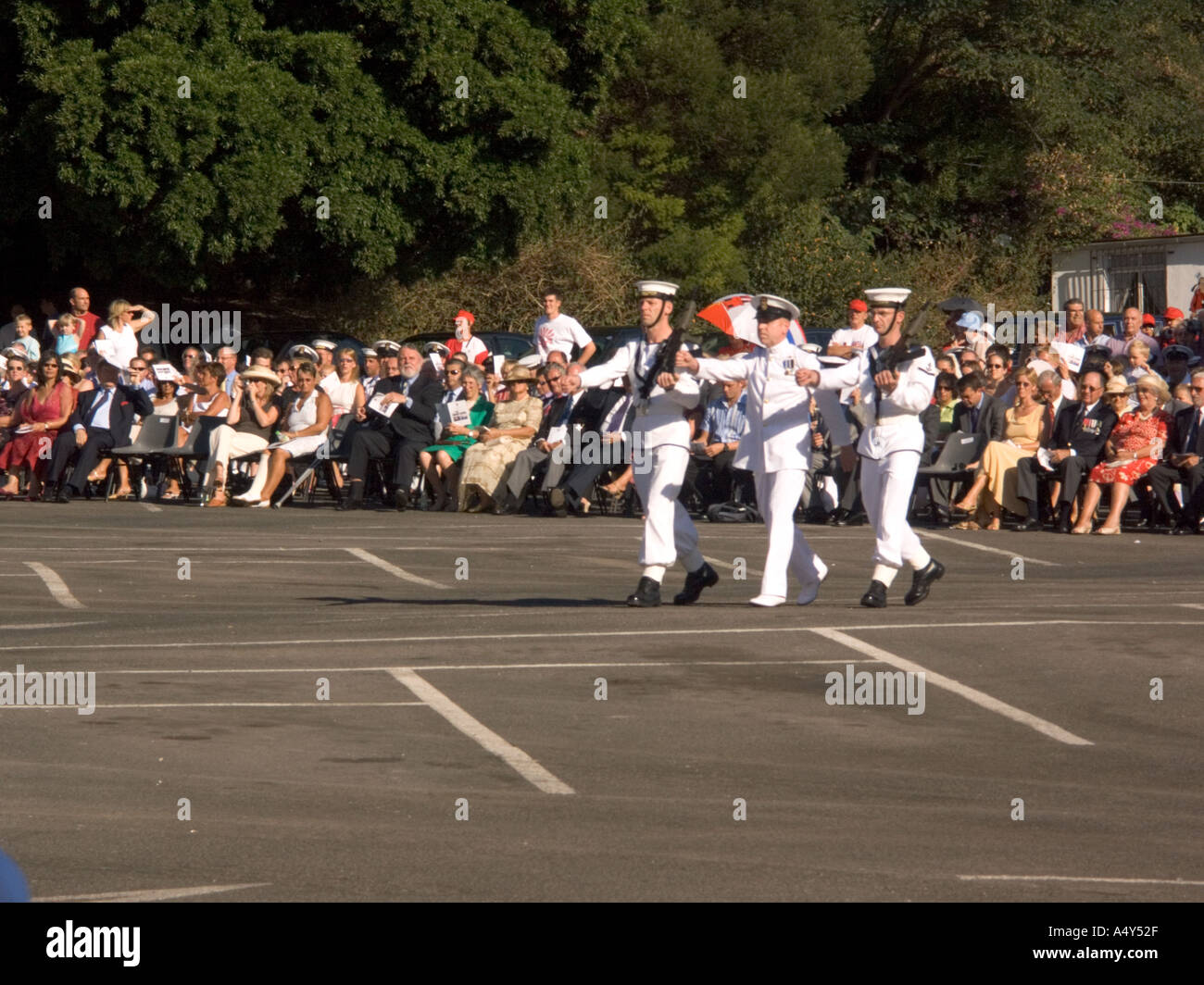 Sailors Marching during the Honorary Freedom of the City of Gibraltar Ceremony - Stock Image