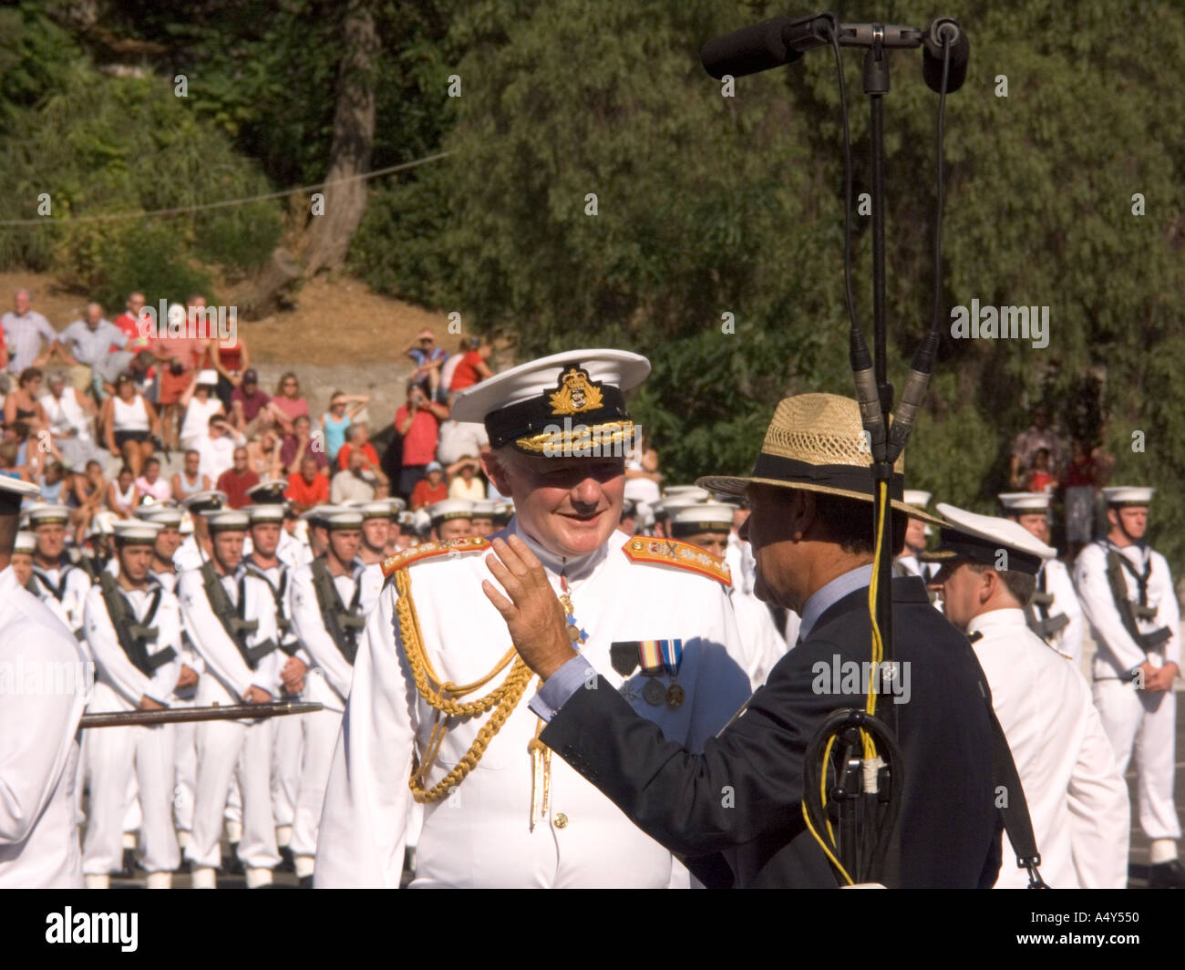 An Admiral talking to the Governor of Gibraltar Sir Francis Richards at the Honorary Freedom of the City of Gibraltar - Stock Image