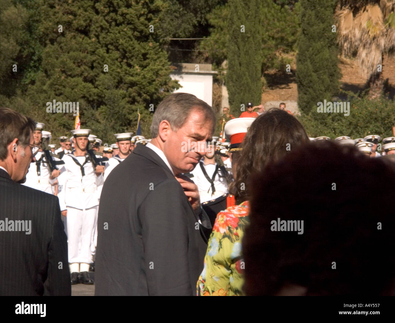 Geoff Hoon MP, then Secretary of State for Defence, attending the  Tercentenary Celebrations in Gibraltar, 2004, - Stock Image