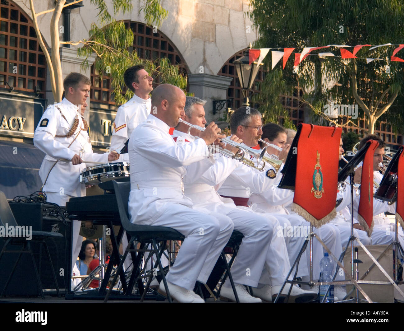 Royal Marines Band play in Gibraltar, to celebrate 300 years of British Rule, - Stock Image