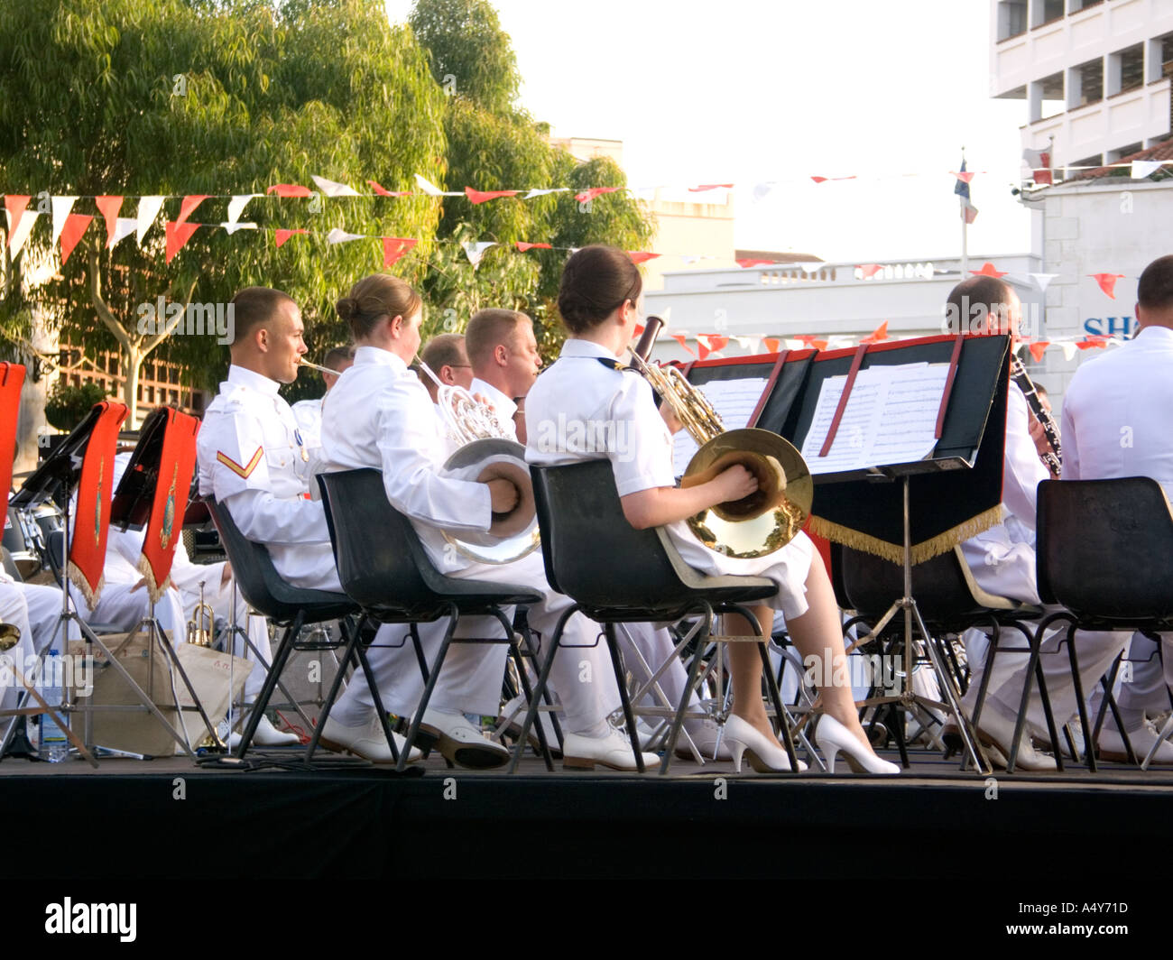 Royal Marines Band play in Gibraltar, to celebrate 300 years of British Rule,  military - Stock Image