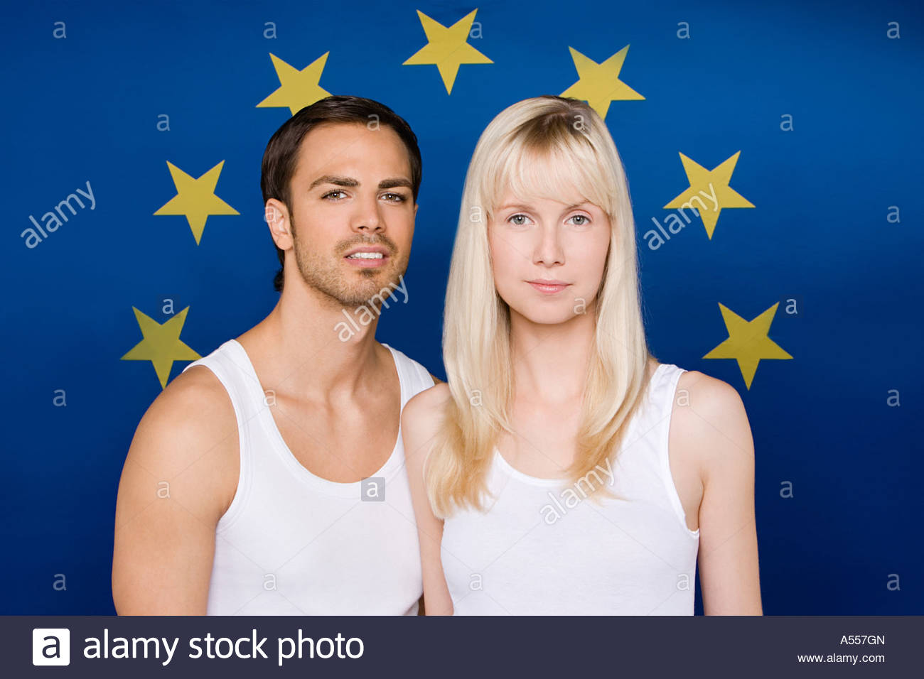 Young couple with european community flag - Stock Image