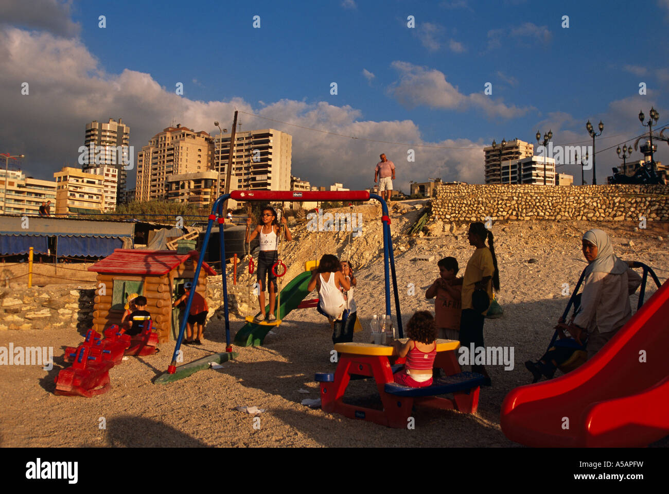 Children at a playground in Beirut Lebanon Stock Photo