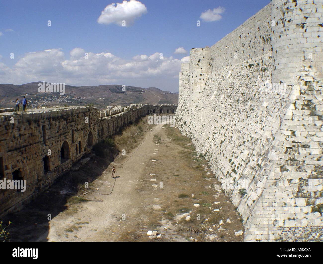 Crac des Chevaliers crusander castle in syria - Stock Image