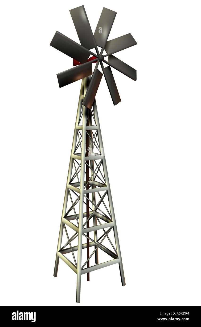Wind power station symbolic grafic - Stock Image