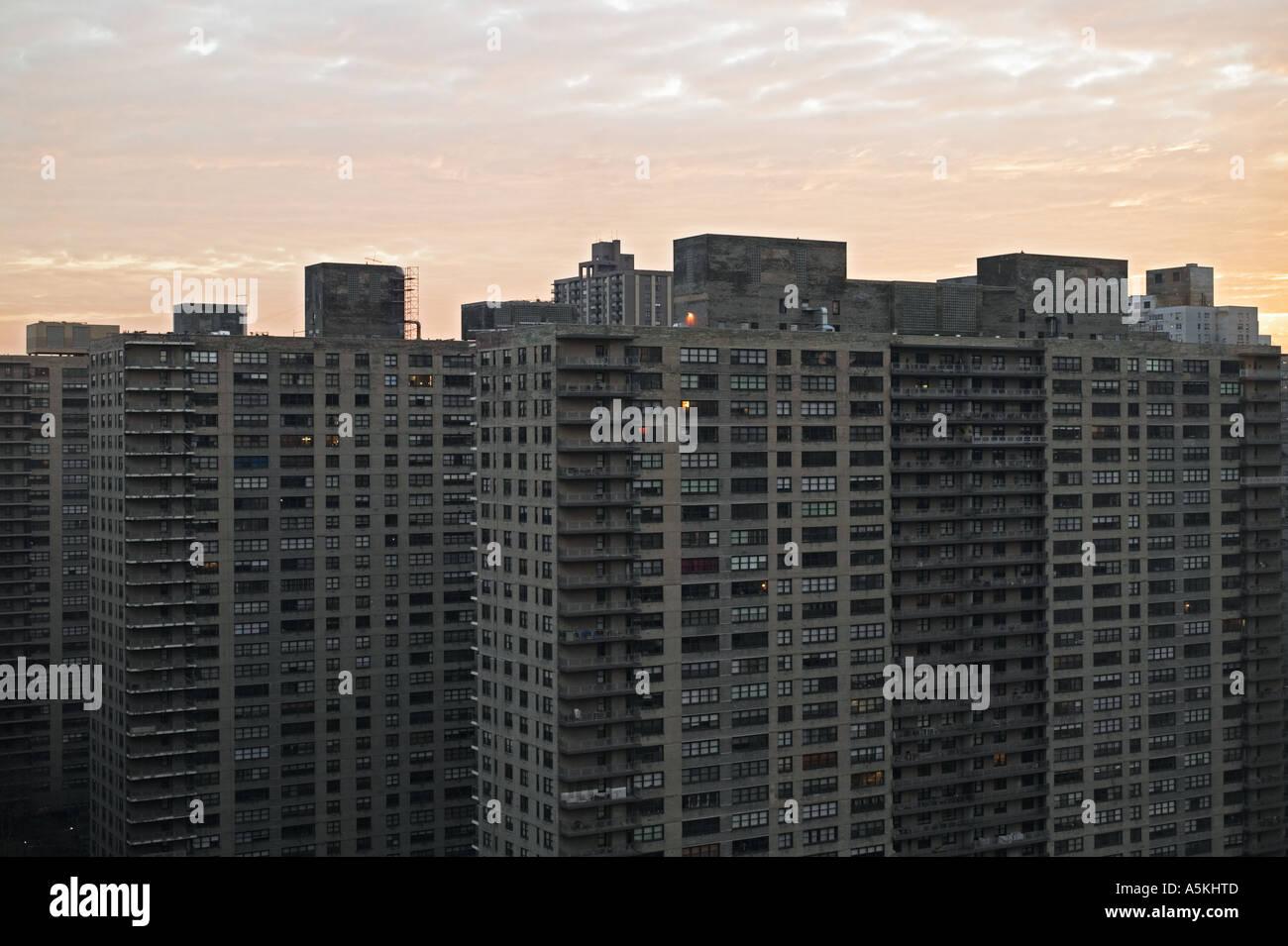 High Rise Apartment Building At Sunrise Manhattan New York City - Stock Image