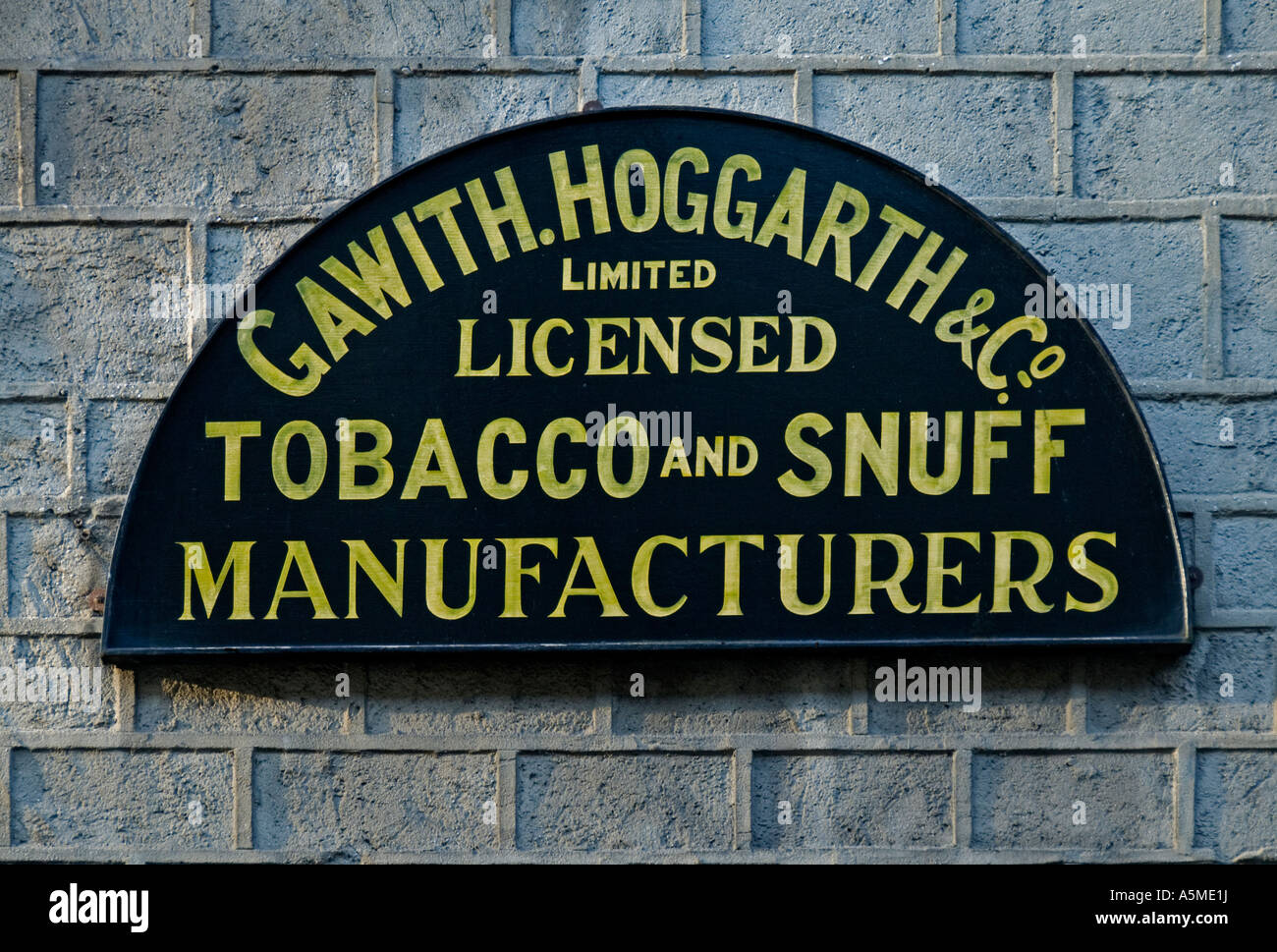Signboard, Gawith Hoggarth Ltd., licensed tobacco and snuff manufacturers. Lowther Street, Kendal, Cumbria, England, Stock Photo