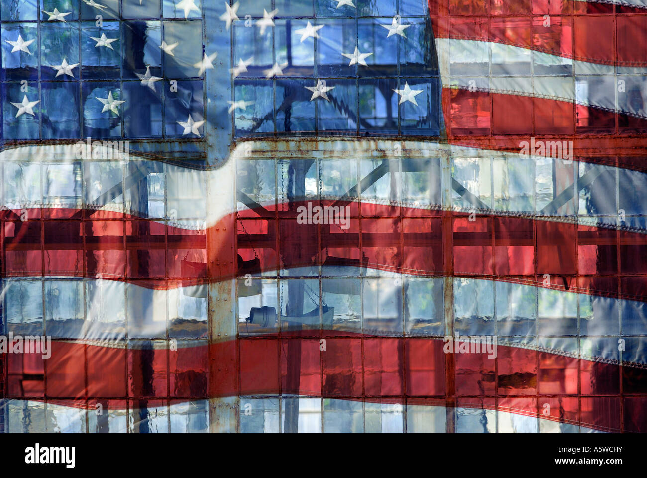 A Flag Collage Illustration layered with old Industrial windows - Stock Image
