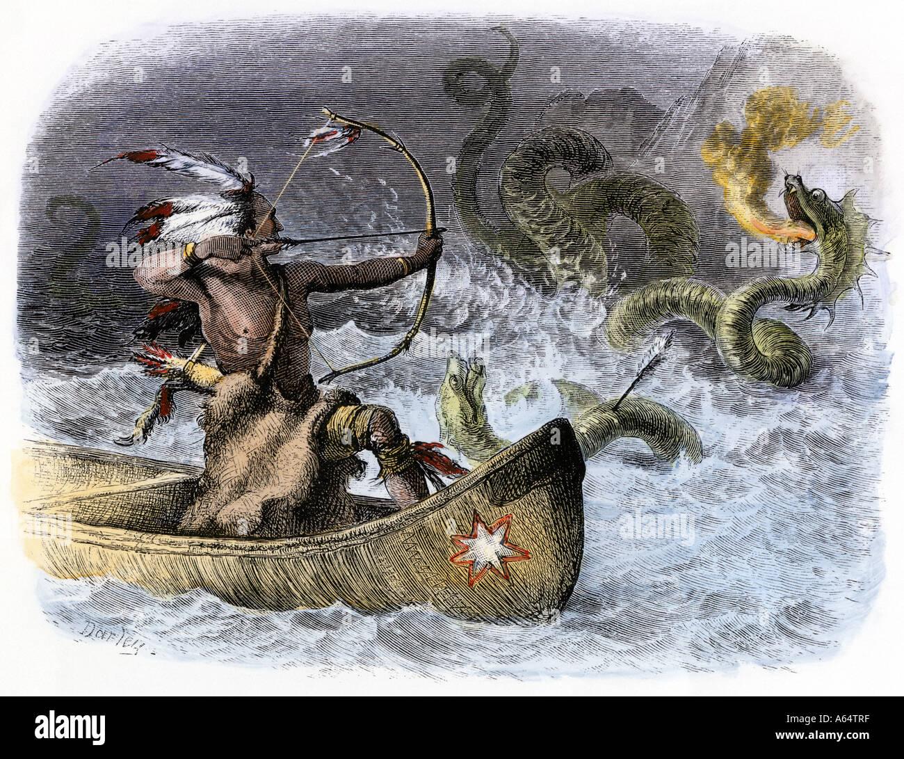 Hiawatha in a canoe aiming his arrow at the sea dragon - Stock Image