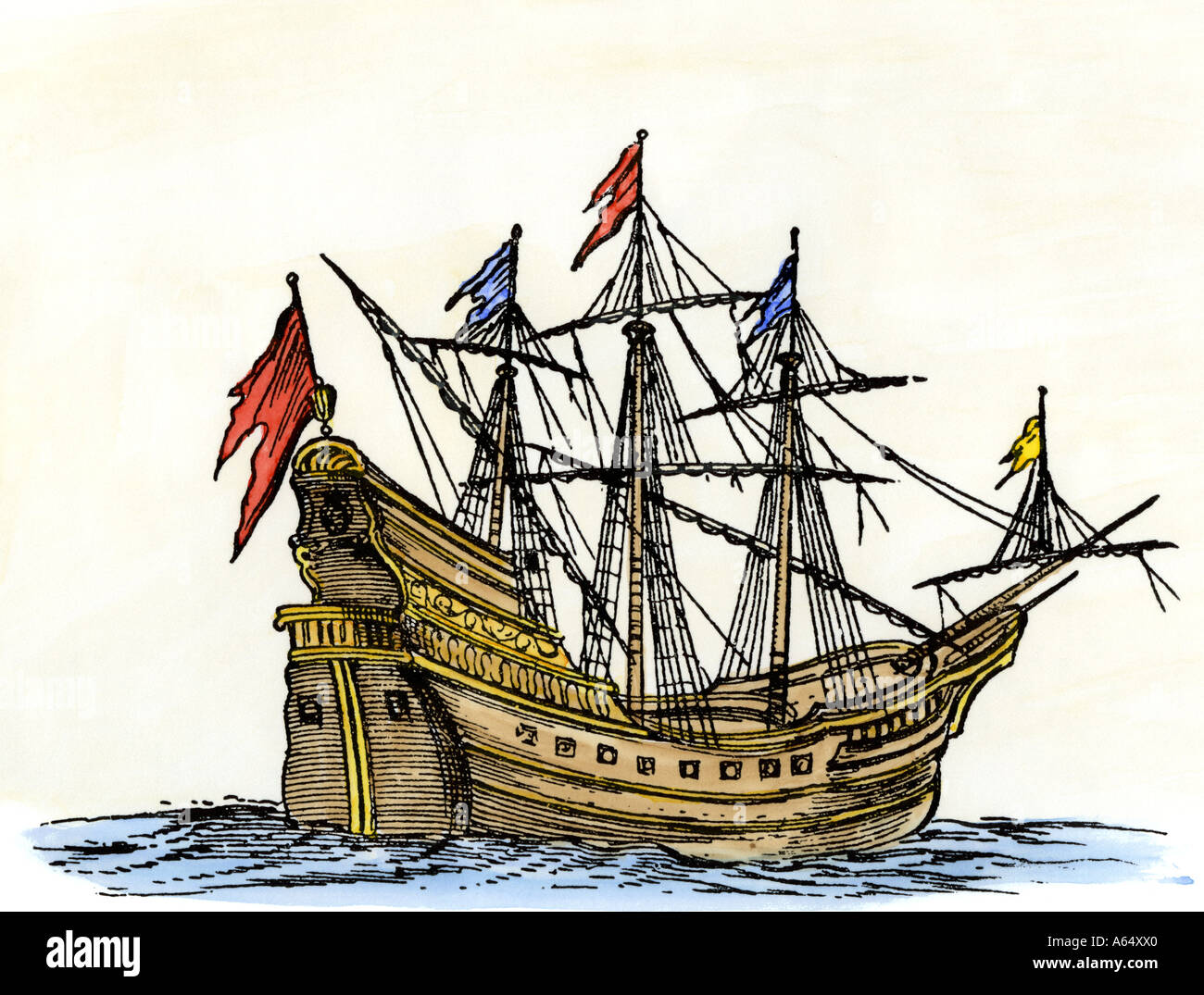 Sailing ship of the seventeenth century - Stock Image