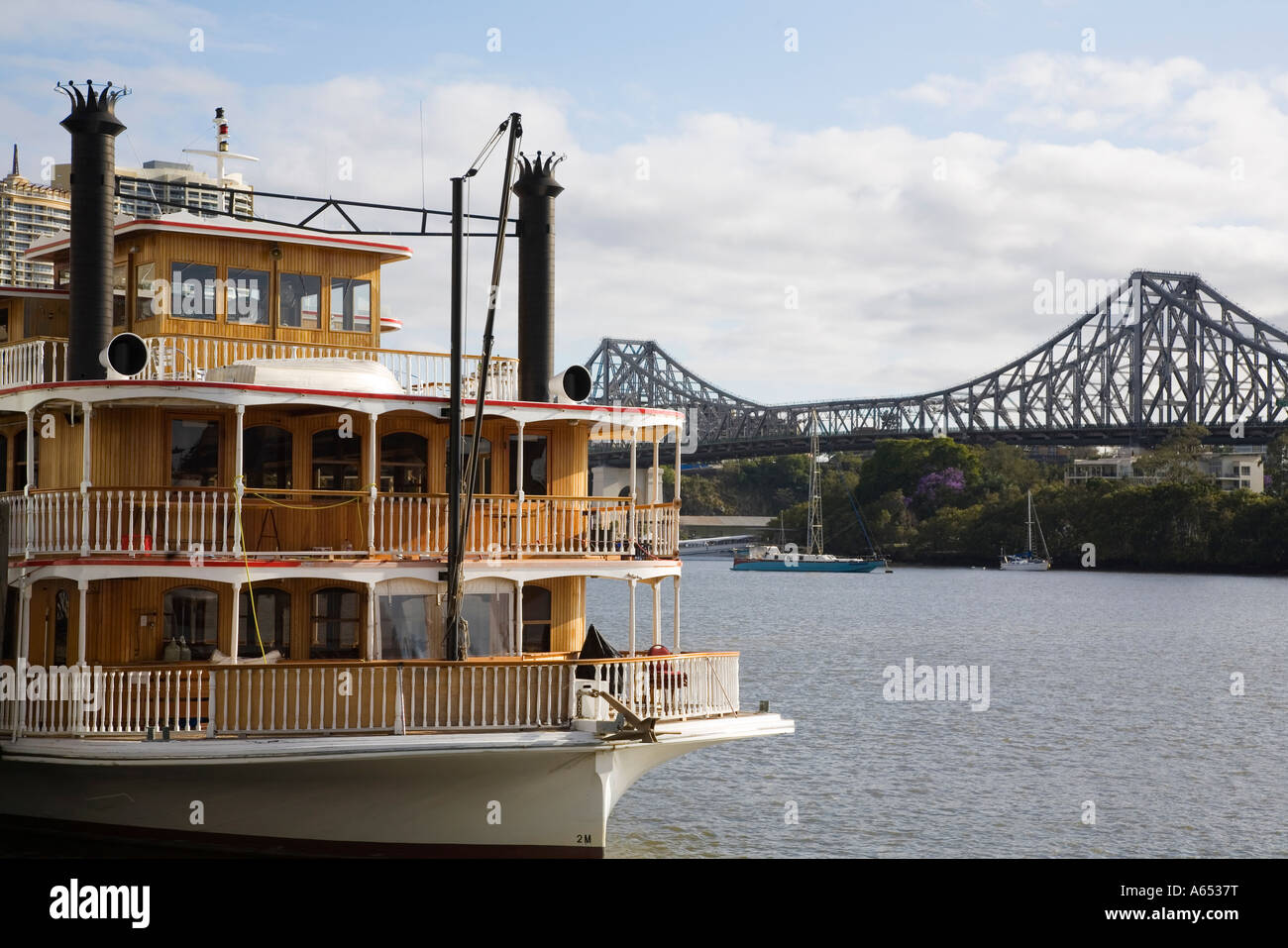 one of a number of old paddle wheelers on the brisbane river used
