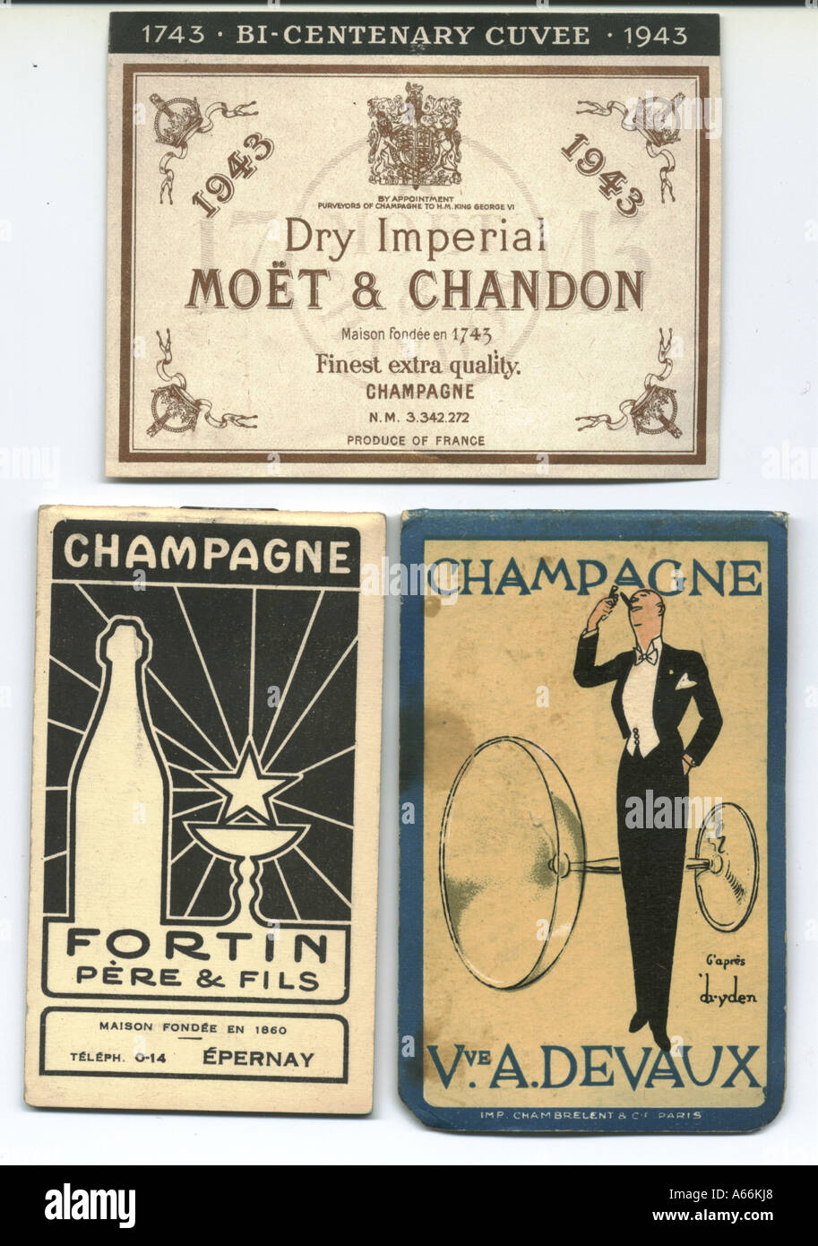 Champagne label 1943 (bi-centenary cuvee) and two give away note books advertising champagne - Stock Image