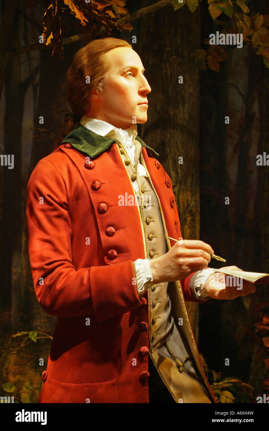 A full size and real life figure of George Washington at 19 years old as a young surveyor Stock Photo