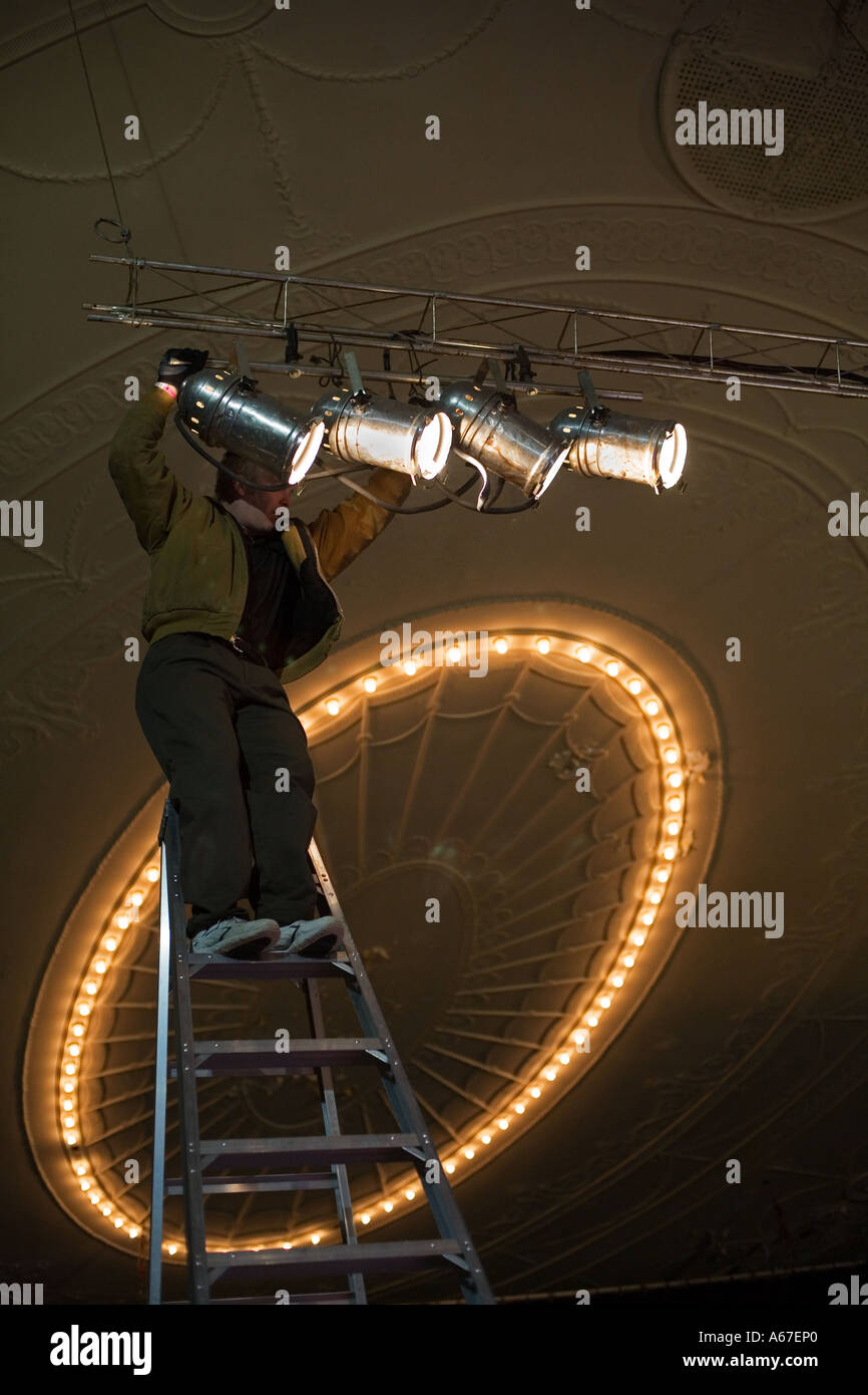 detroit michigan a stagehand adjusts lighting at the majestic