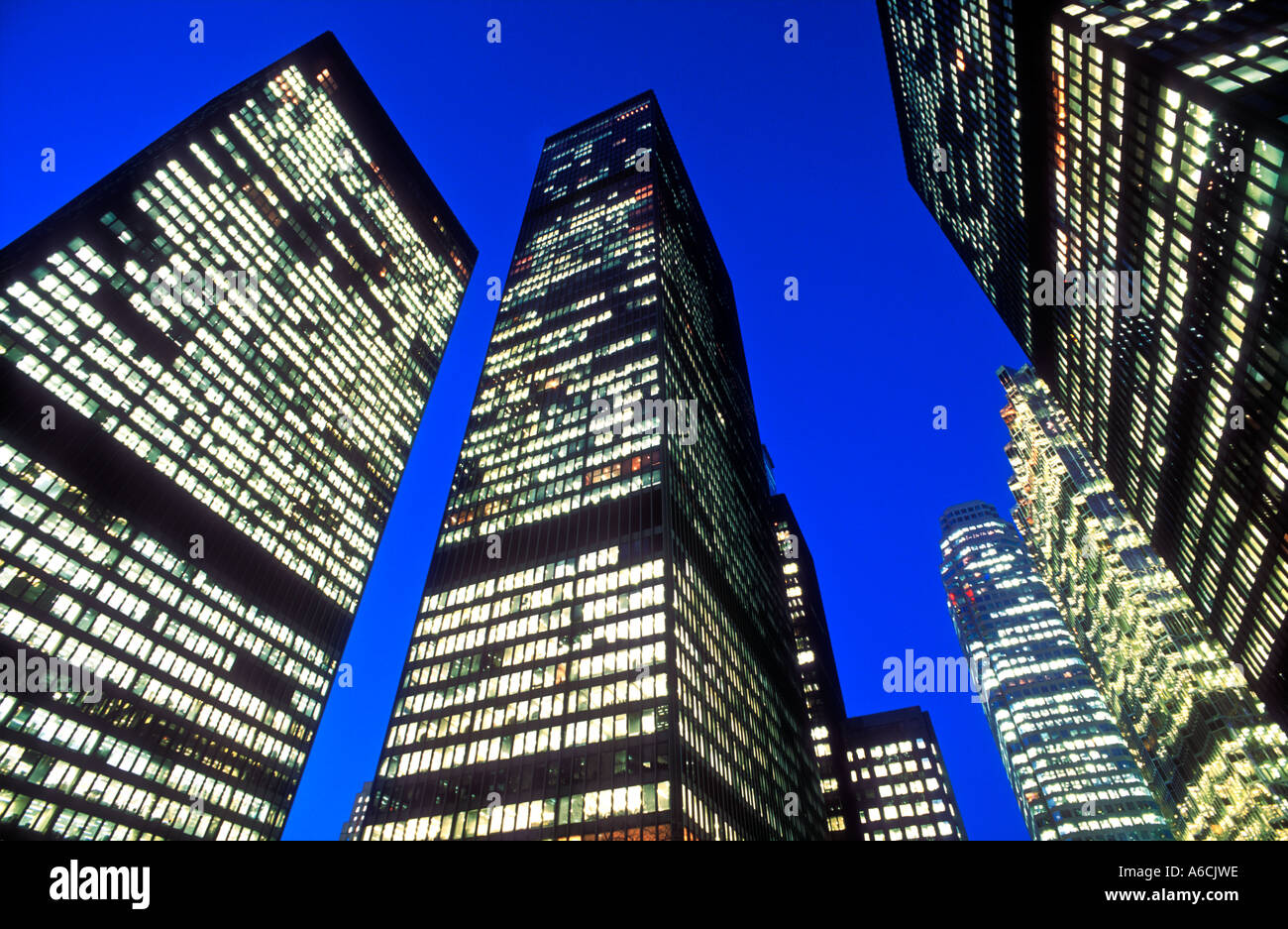 Canada Ontario Toronto office towers in the financial district illuminated at night - Stock Image