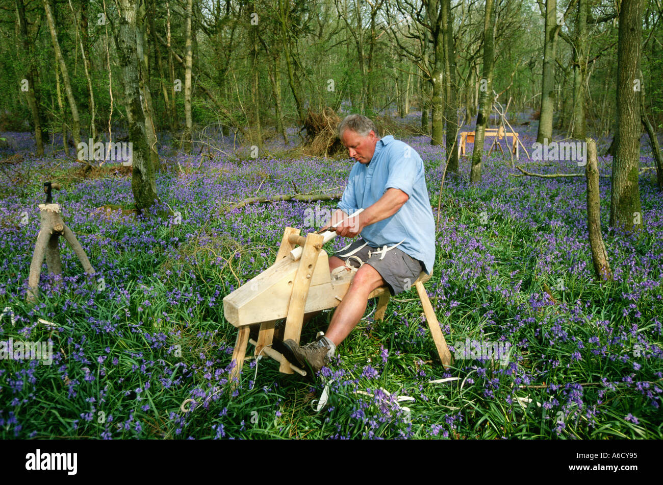 Green wood furniture maker in bluebells and hazel coppice dorset uk