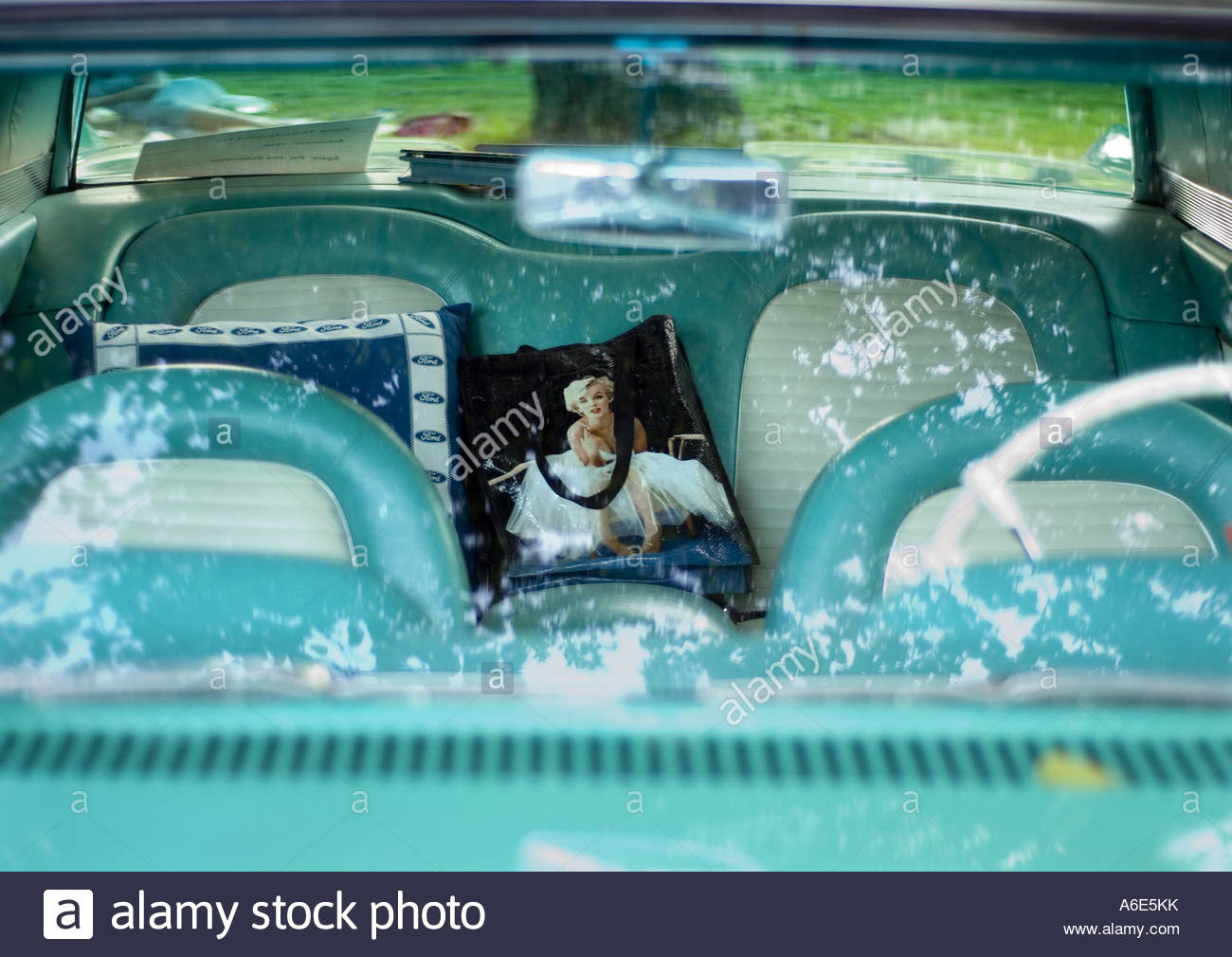 Picture of Marilyn Monroe printed on a bag on the back seat of a car, USA - Stock Image