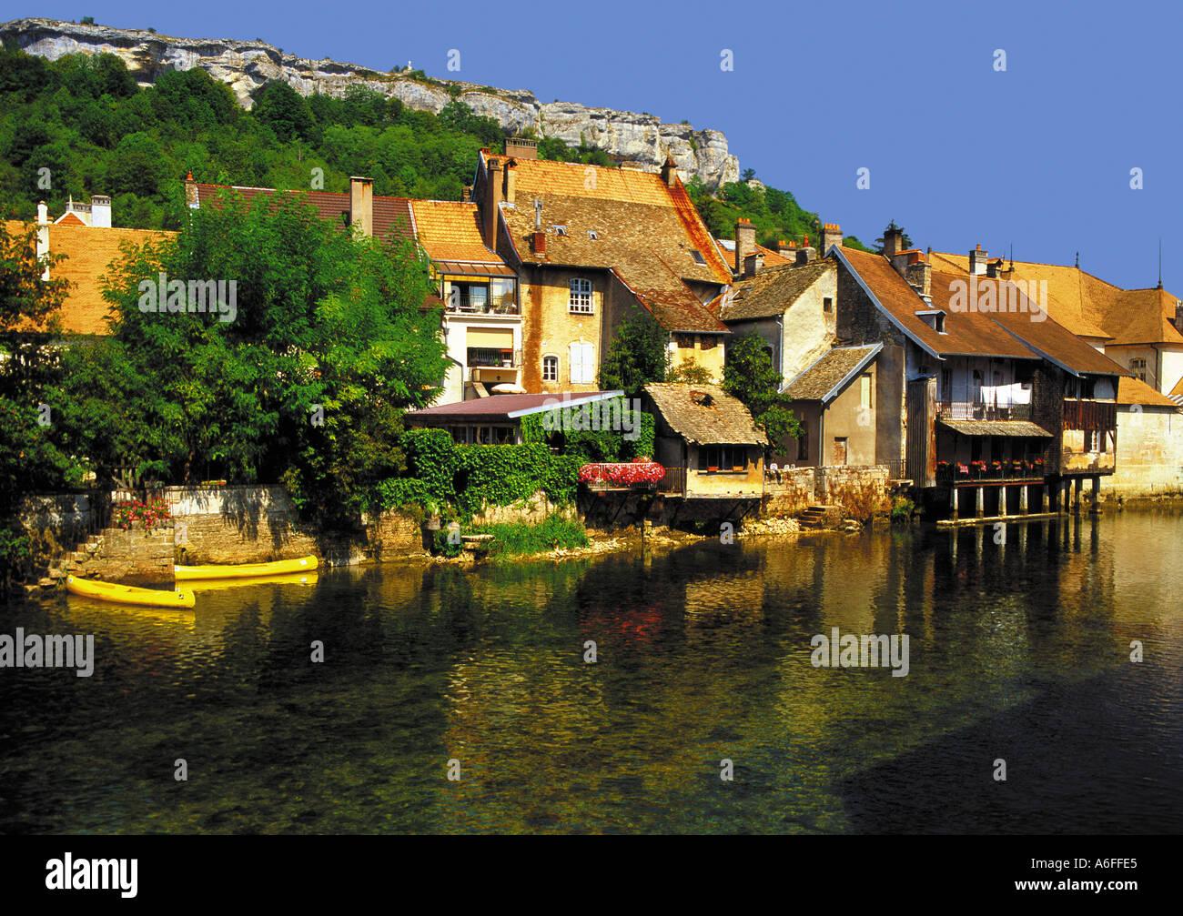 river loue ornans doubs jura franche compte france - Stock Image