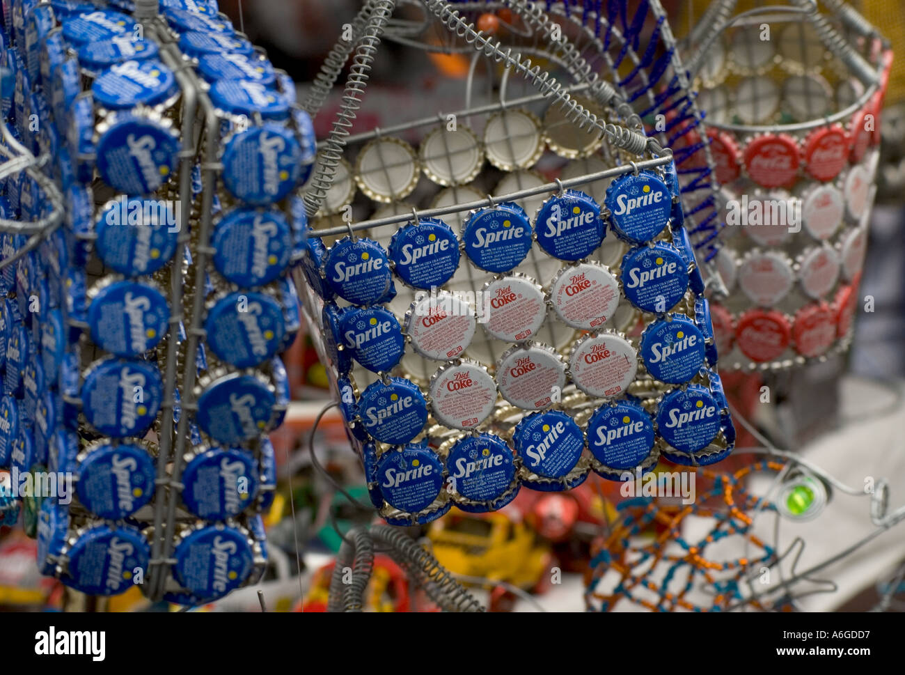 South Africa Cape Peninsula Cape Town downtown Greenmarket square african market arts and crafts - Stock Image