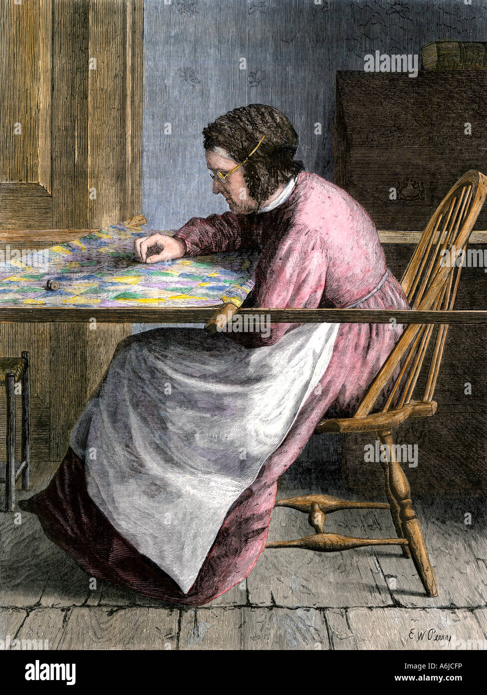Woman stitching a patchwork quilt 1800s - Stock Image