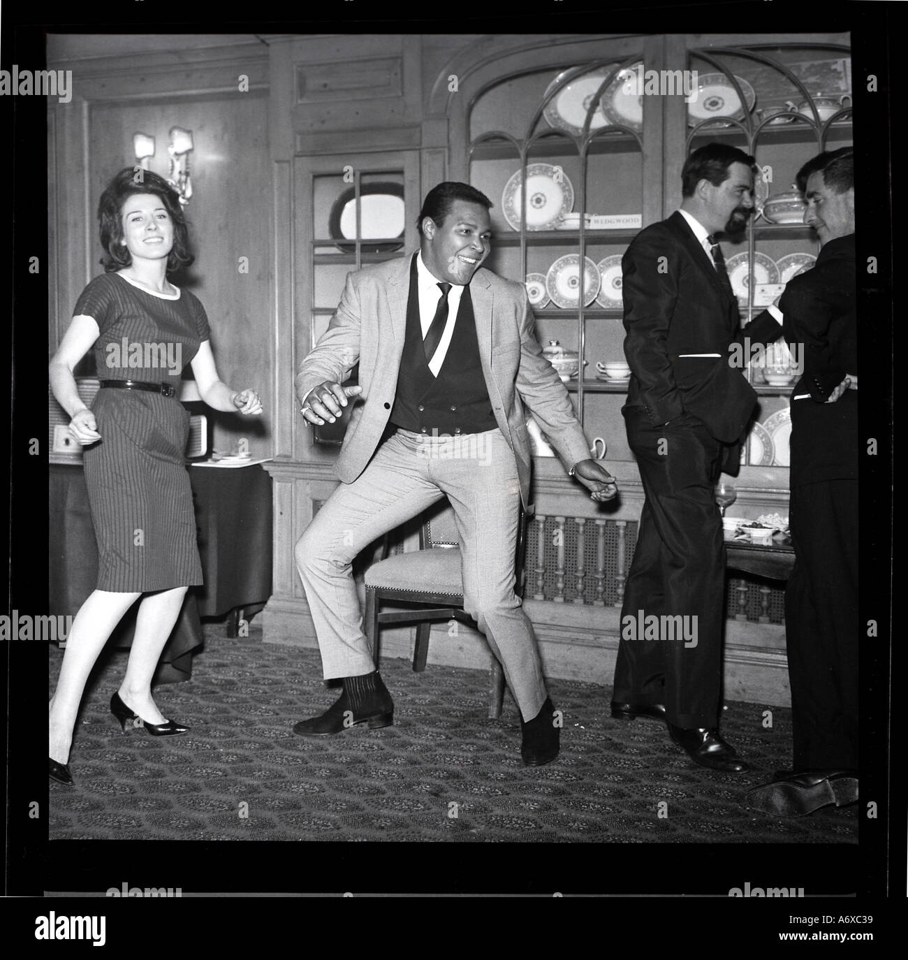 Chubby Checker doing the Twist. Photo by Harry Hammond, 1960s. Stock Photo