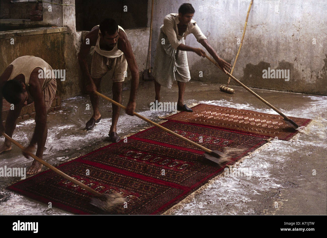 people, profession, Pakistan, worker cleaning carpets, job, knot, rug, production, oriental, work, handcraft, craft, - Stock Image
