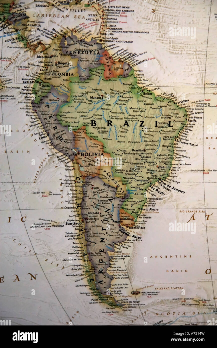 A close view of south america and parts of central america on a a close view of south america and parts of central america on a high quality world map gumiabroncs Image collections