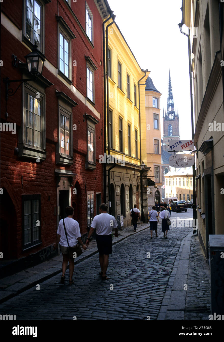 A Street in GAMAL STAN STOCKHOLM SWEDEN - Stock Image